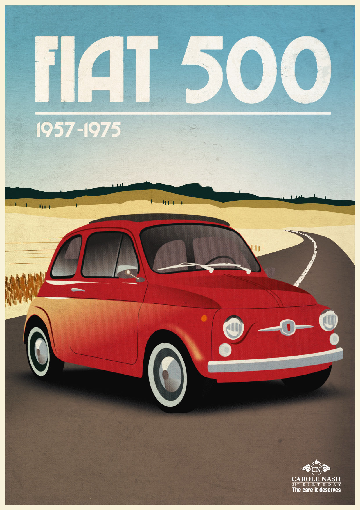Retro Fiat 500 Illustration/Poster