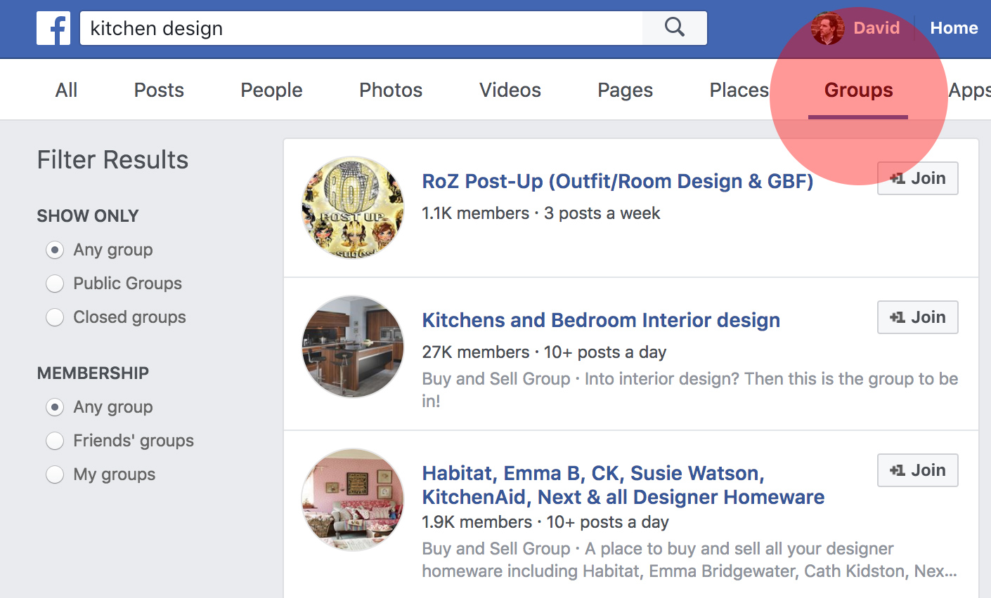 Search Facebook Groups